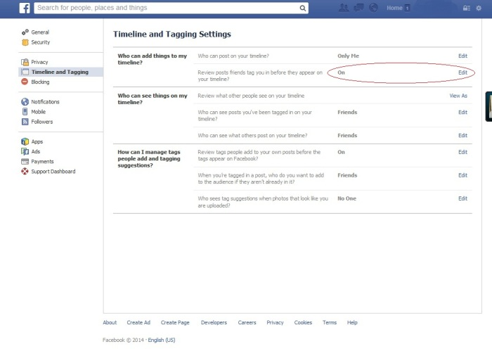Facebook Tag Setting